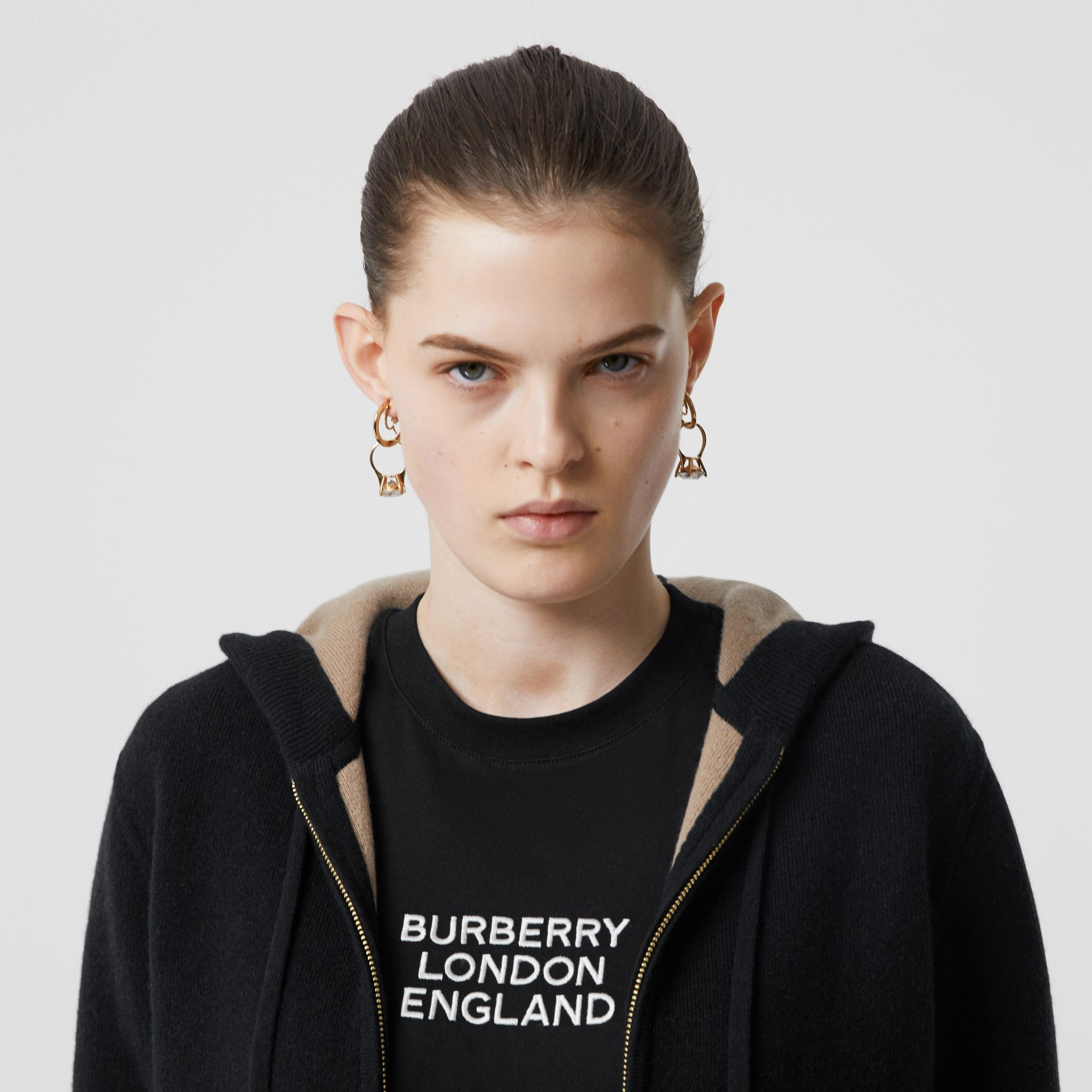 Embroidered Logo Cashmere Hooded Top in Black - Women | Burberry - gallery image 1