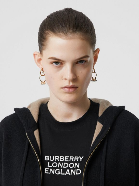 Embroidered Logo Cashmere Hooded Top in Black - Women | Burberry - cell image 1
