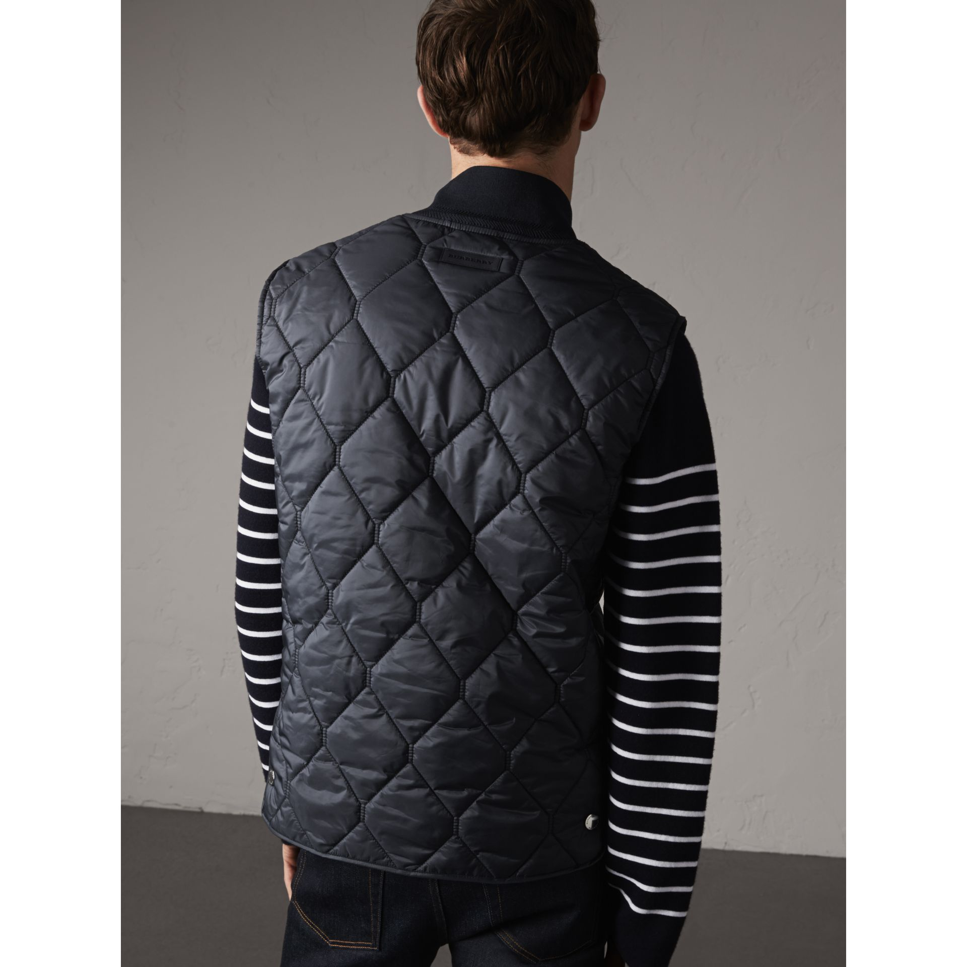 Diamond Quilted Gilet in Navy - Men | Burberry Hong Kong - gallery image 3