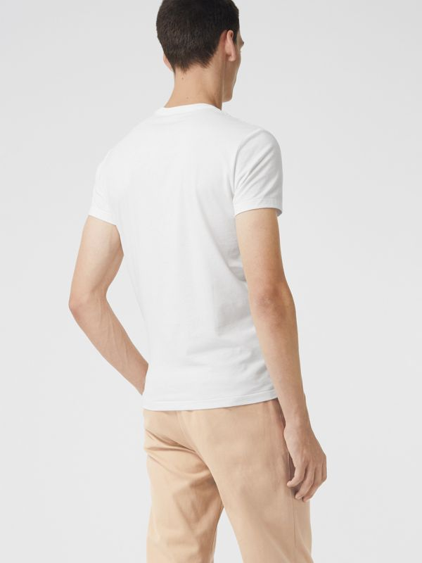 Cotton Jersey V-neck T-shirt in White - Men | Burberry Hong Kong - cell image 2