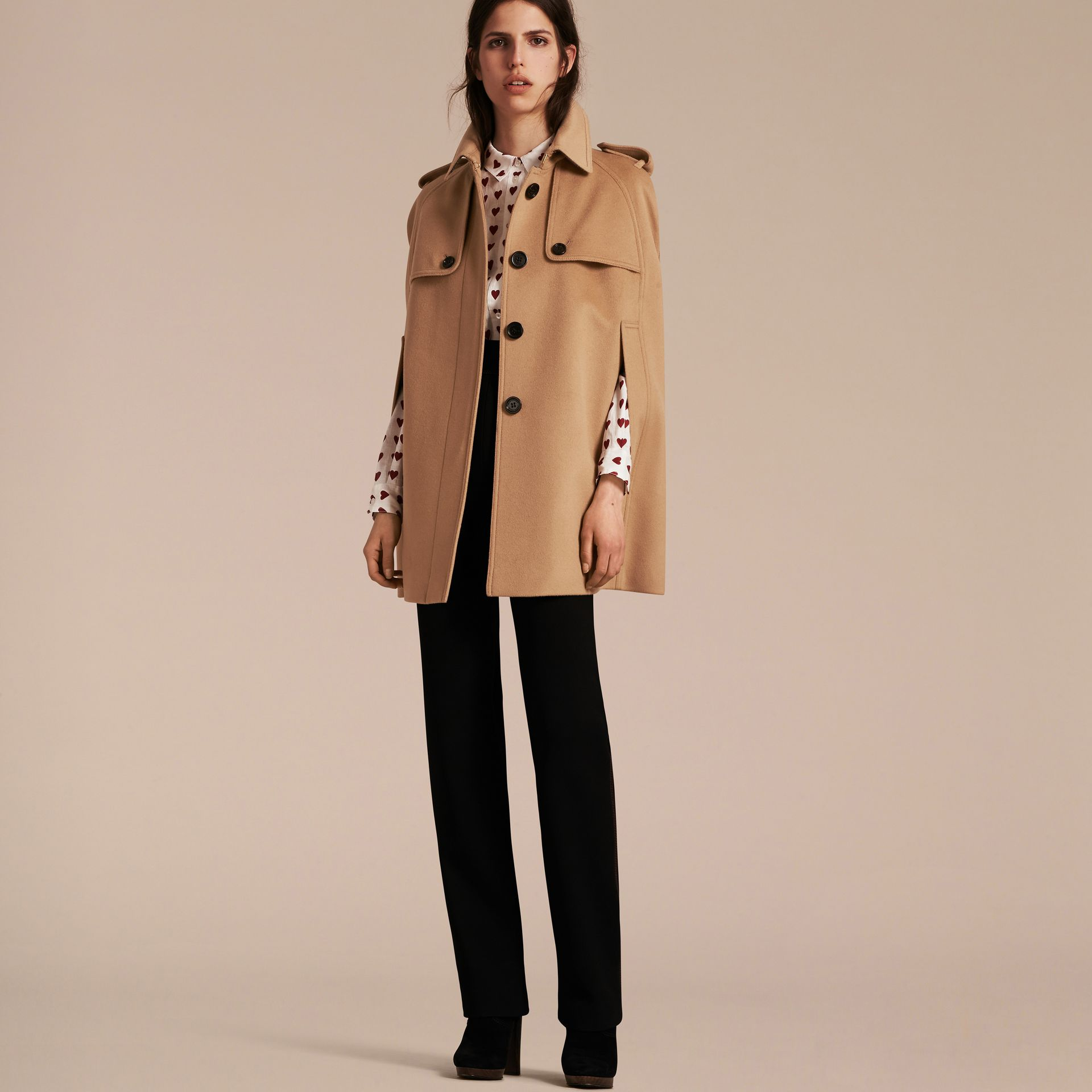 Camel Wool Cashmere Blend Trench Cape - gallery image 7
