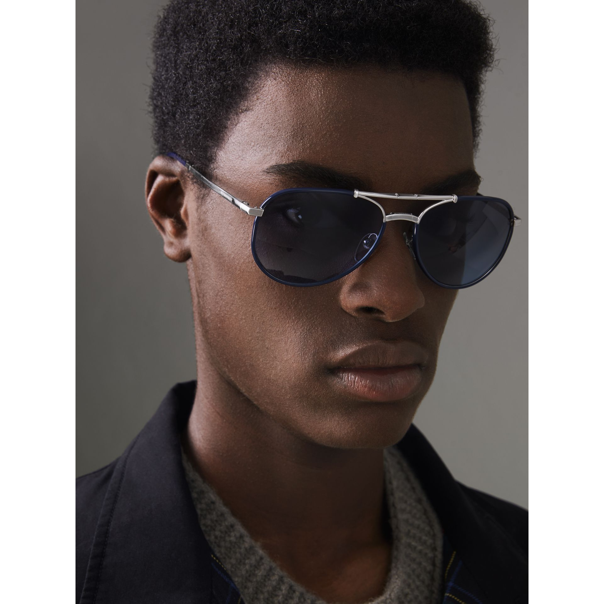 Folding Pilot Sunglasses in Navy - Men | Burberry - gallery image 2