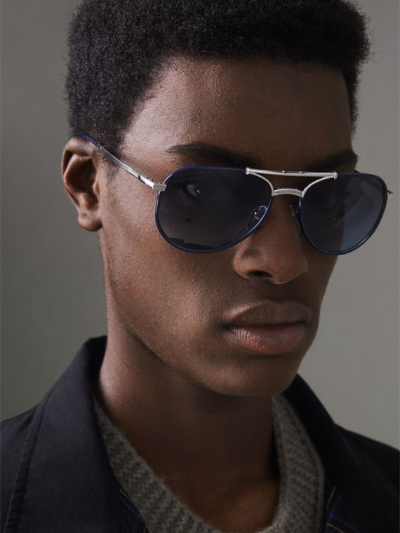 Gafas de sol estilo aviador plegables (Azul Marino) - Hombre | Burberry - cell image 2