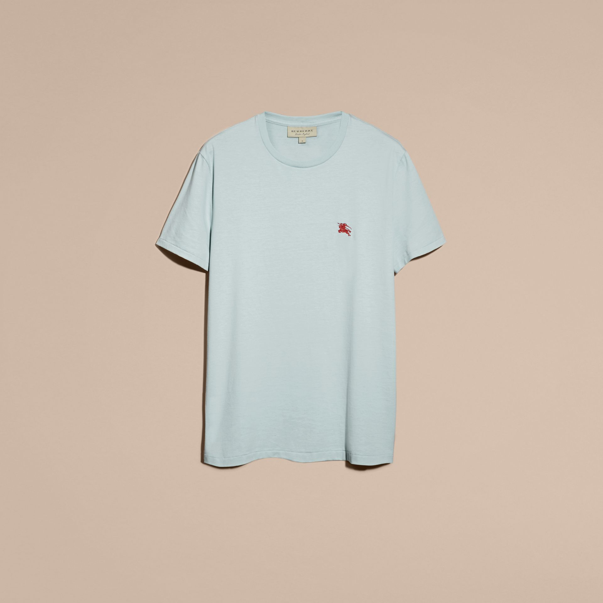 Cotton Jersey T-shirt in Pale Opal Blue - Men | Burberry - gallery image 4