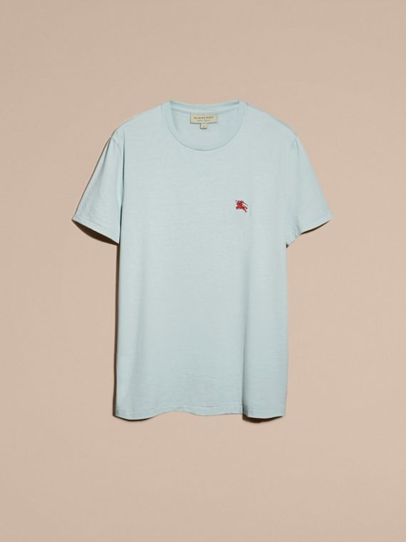 Cotton Jersey T-shirt in Pale Opal Blue - Men | Burberry - cell image 3