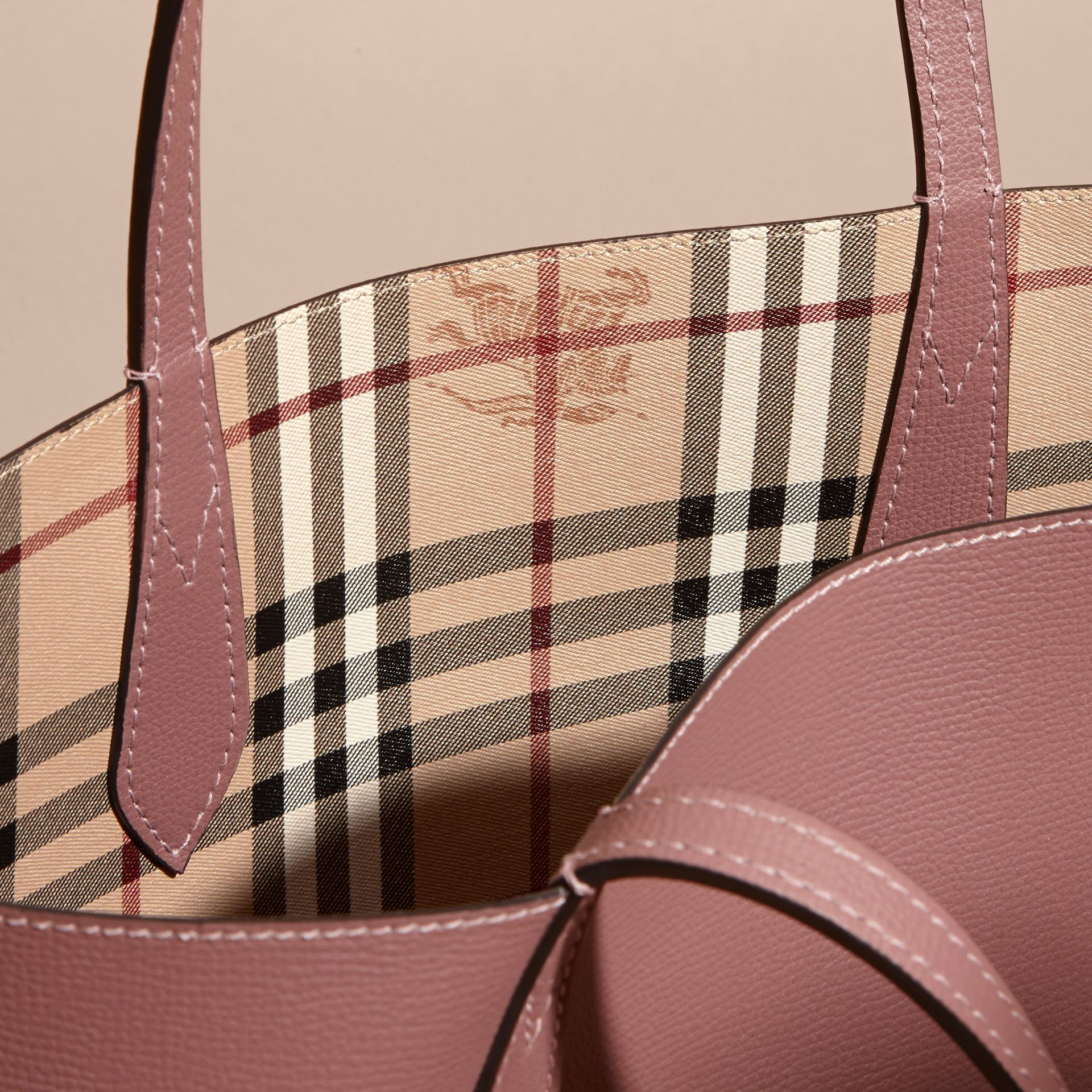 The Small Reversible Tote in Haymarket Check and Leather in Light Elderberry - Women | Burberry - gallery image 6