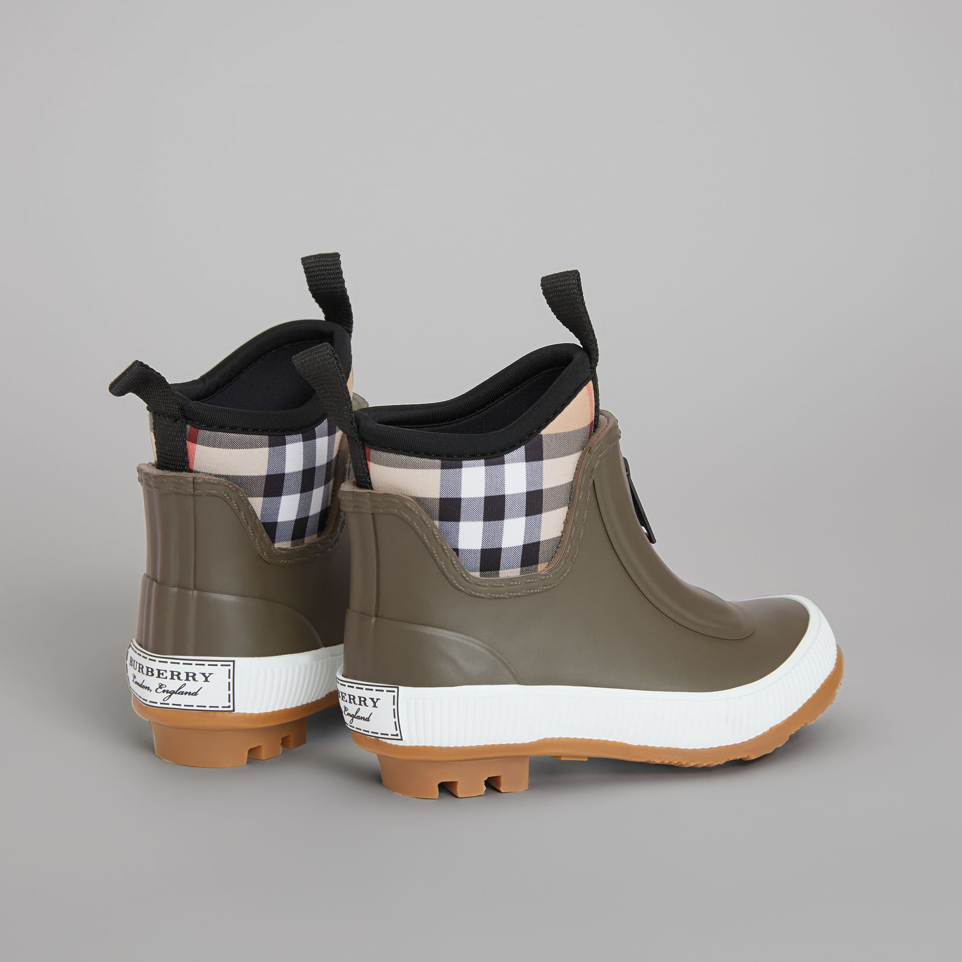Vintage Check Neoprene and Rubber Rain Boots in Military Green - Children | Burberry - gallery image 2