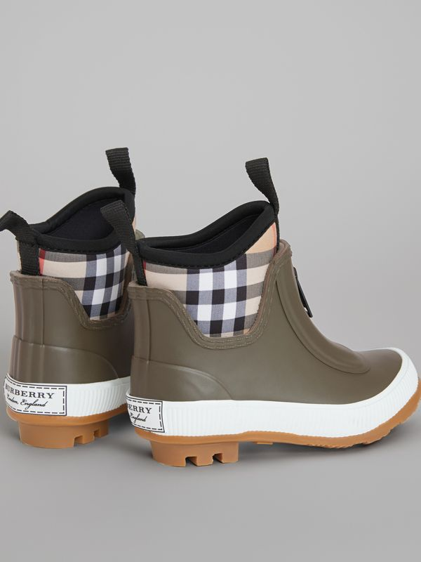 Vintage Check Neoprene and Rubber Rain Boots in Military Green - Children | Burberry Australia - cell image 2