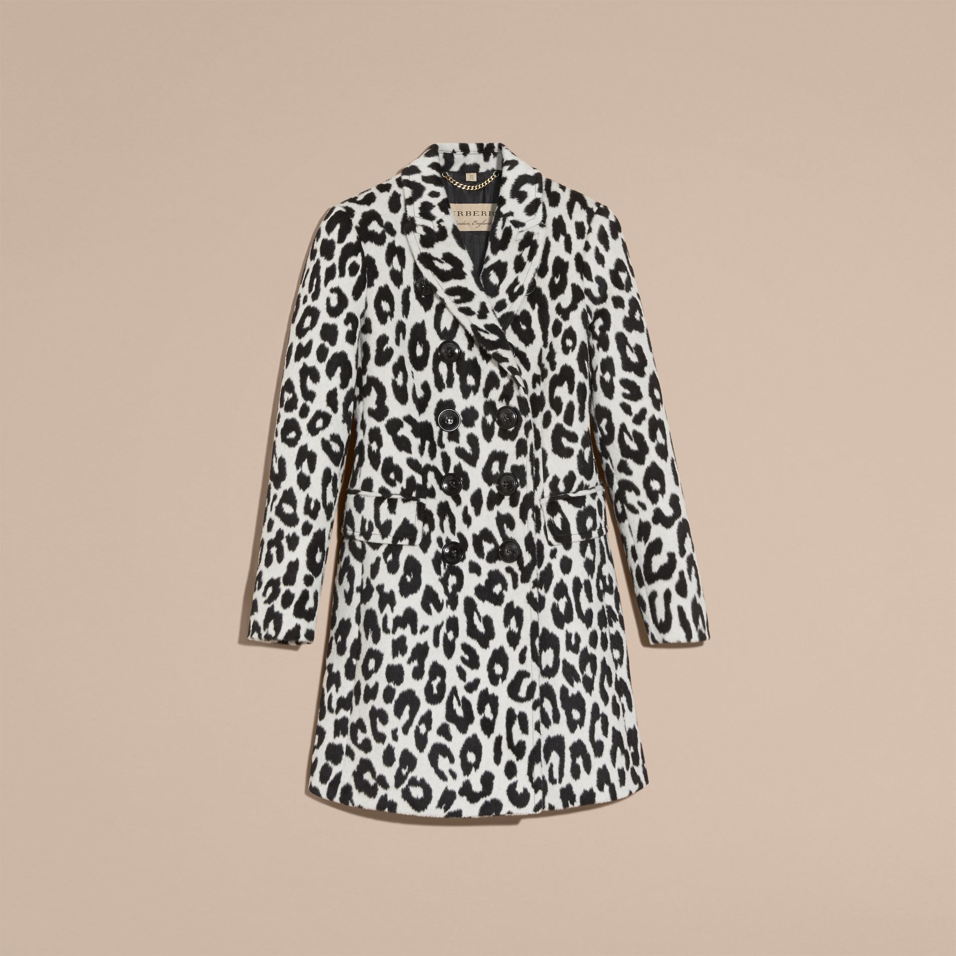 Black/white Leopard Jacquard Lama Wool Coat - gallery image 4