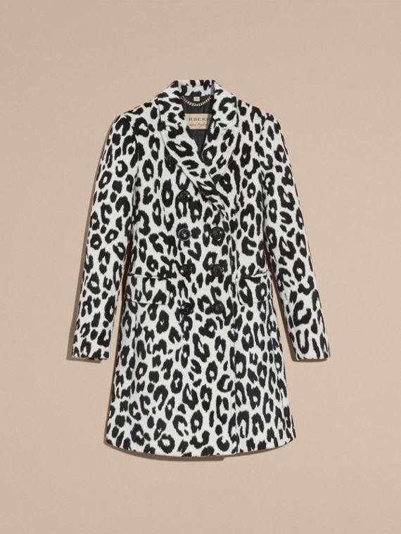 Black/white Leopard Jacquard Lama Wool Coat - cell image 3