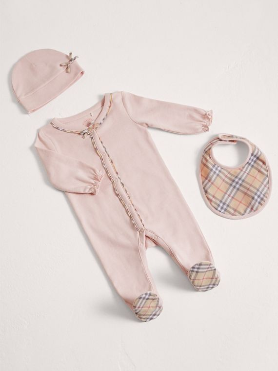 Check Cotton Three-piece Baby Gift Set in Powder Pink
