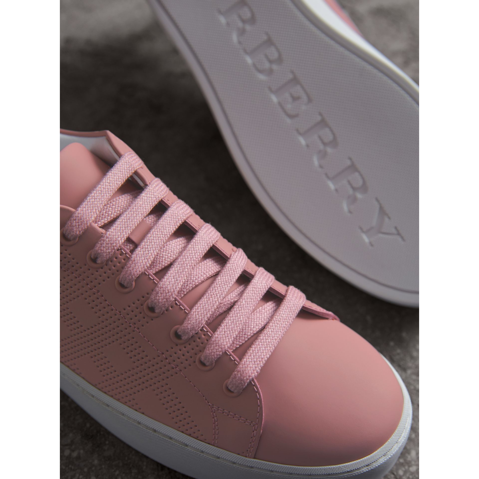 Perforated Check Leather Trainers in Rose Pink - Women | Burberry - gallery image 5