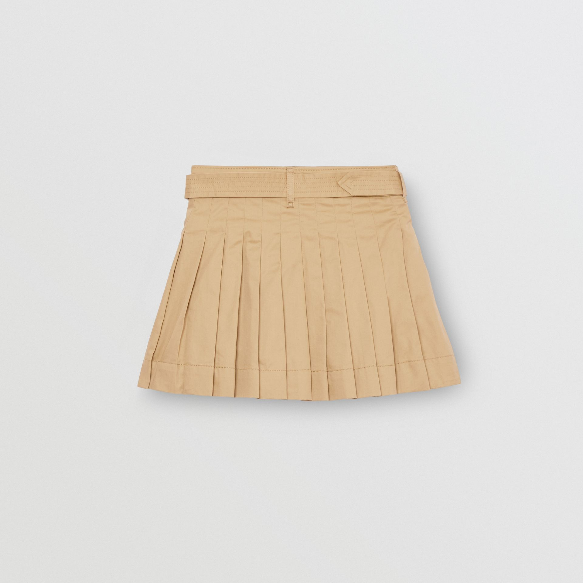 Pleated Cotton Twill Trench Skirt in Honey | Burberry - gallery image 3