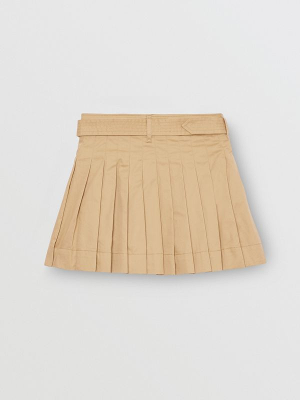 Pleated Cotton Twill Trench Skirt in Honey | Burberry - cell image 3