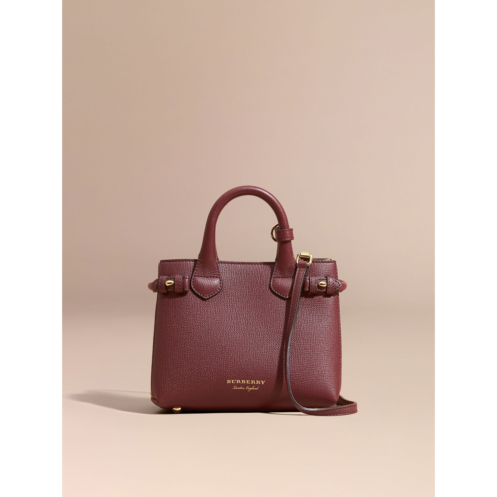 The Baby Banner in Leather and House Check in Mahogany Red - Women | Burberry - gallery image 9