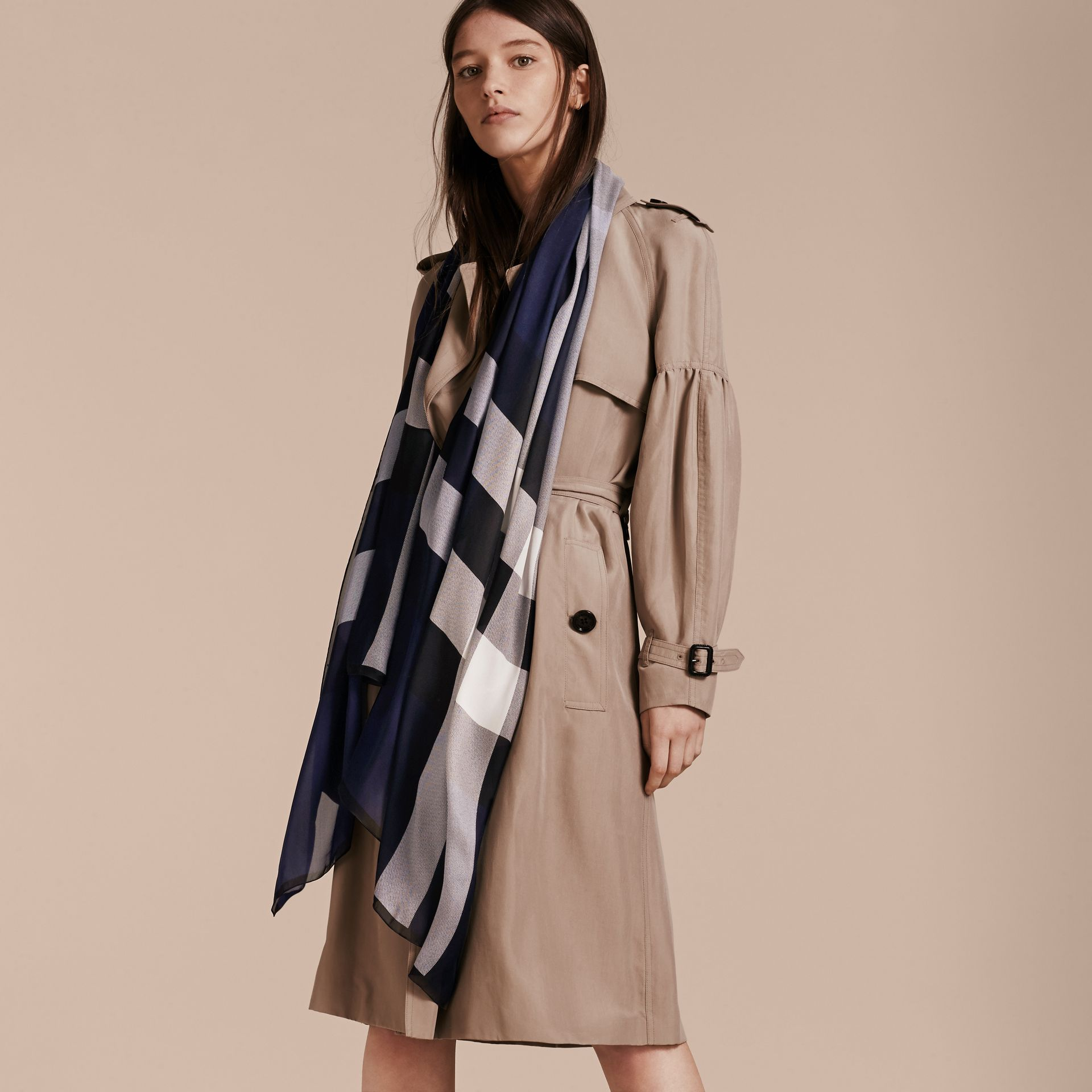 Lightweight Check Silk Scarf in Indigo Blue - Women | Burberry - gallery image 3