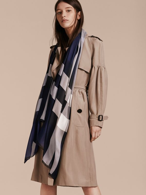 Lightweight Check Silk Scarf in Indigo Blue - Women | Burberry - cell image 2
