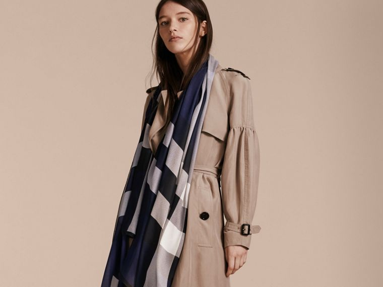 Lightweight Check Silk Scarf in Indigo Blue - Women | Burberry Singapore - cell image 2