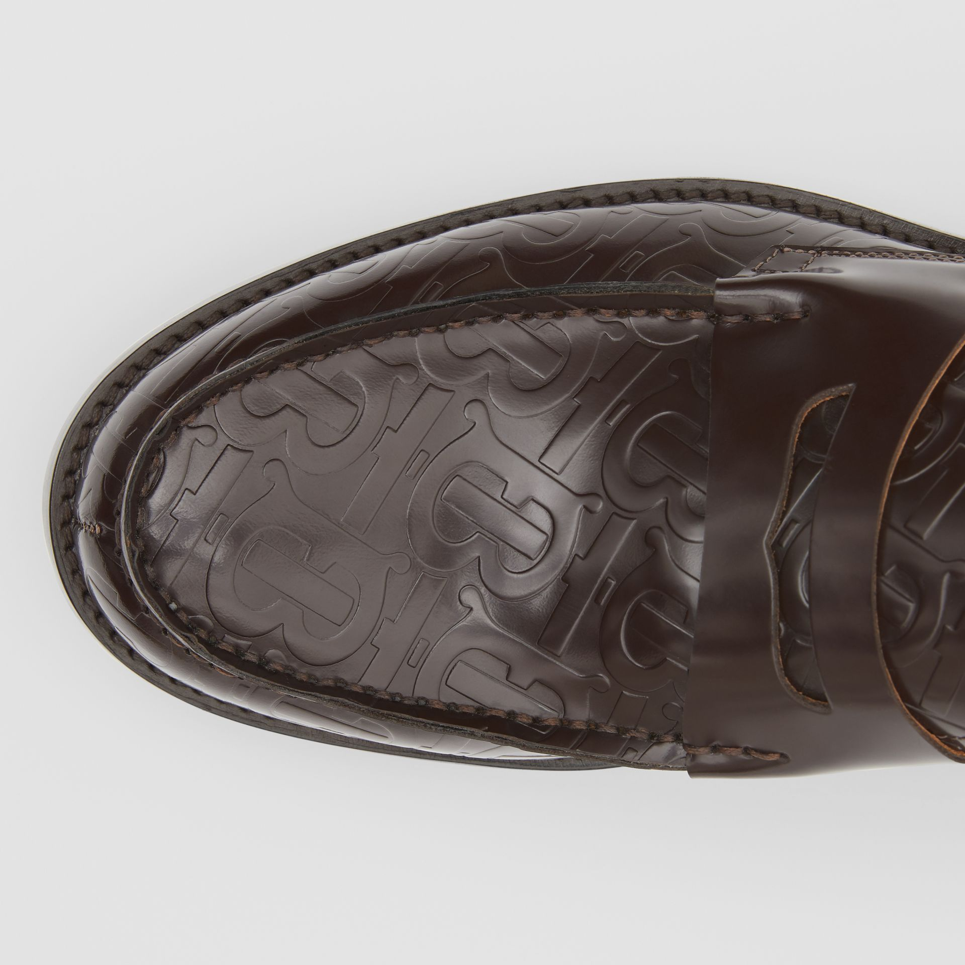 D-ring Detail Monogram Leather Loafers in Chocolate - Men | Burberry - gallery image 1