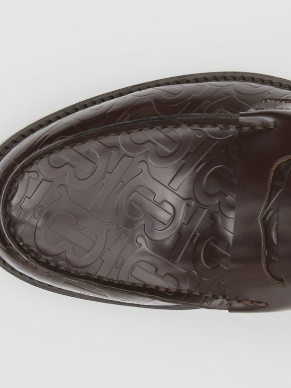D-ring Detail Monogram Leather Loafers in Chocolate - Men | Burberry - cell image 1