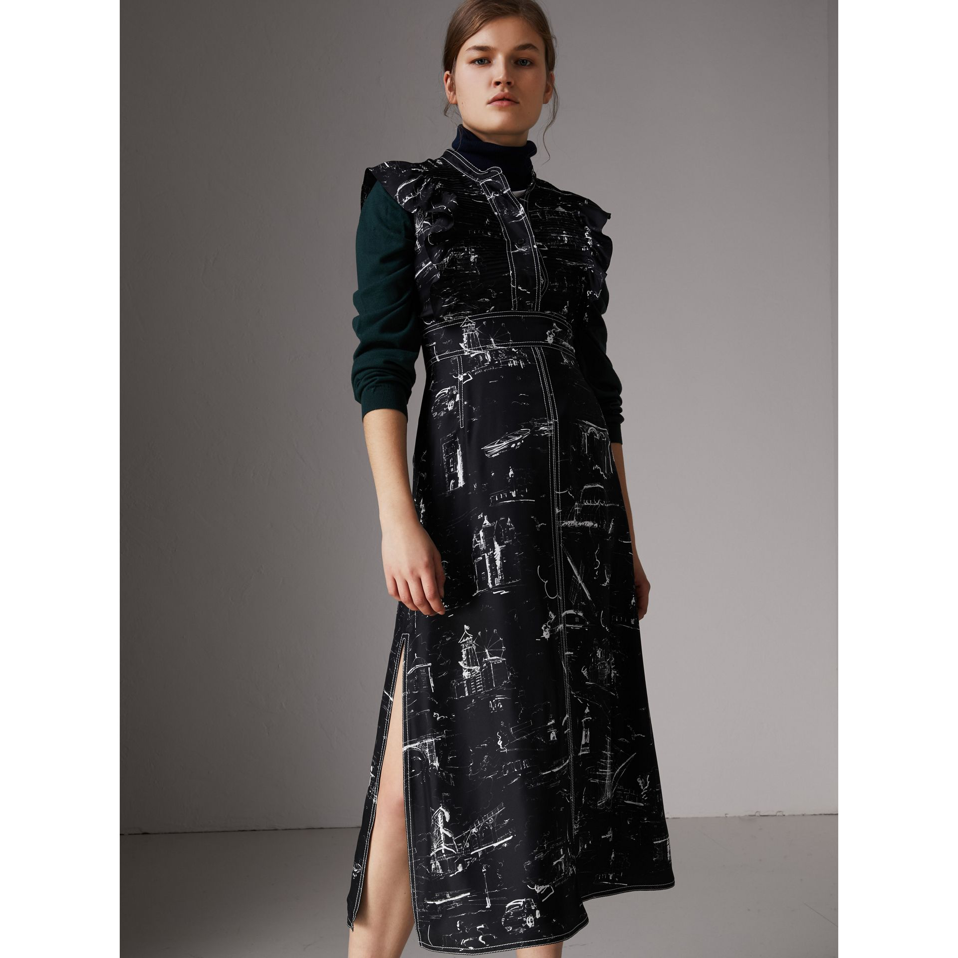 Ruffle Detail Landmark Print Silk Dress in Black - Women | Burberry - gallery image 3