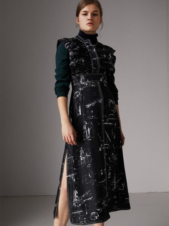Ruffle Detail Landmark Print Silk Dress in Black - Women | Burberry - cell image 3