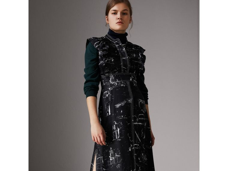 Ruffle Detail Landmark Print Silk Dress in Black - Women | Burberry United States - cell image 4
