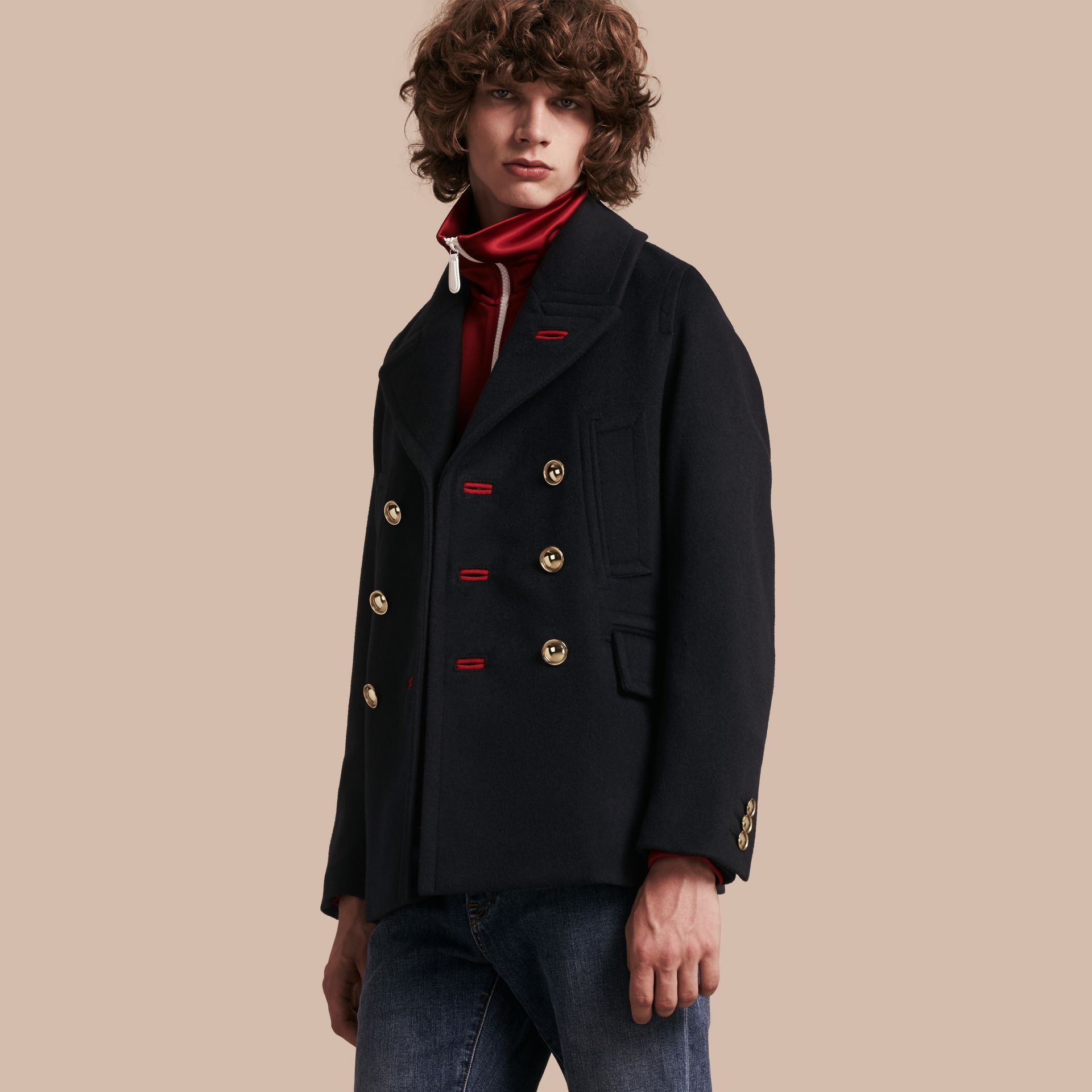 Navy Military Felted Wool Blend Pea Coat - gallery image 1