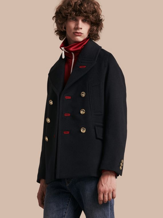 Military Felted Wool Blend Pea Coat