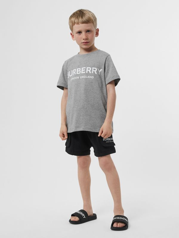 Logo Print Cotton T-shirt in Grey Melange | Burberry - cell image 2