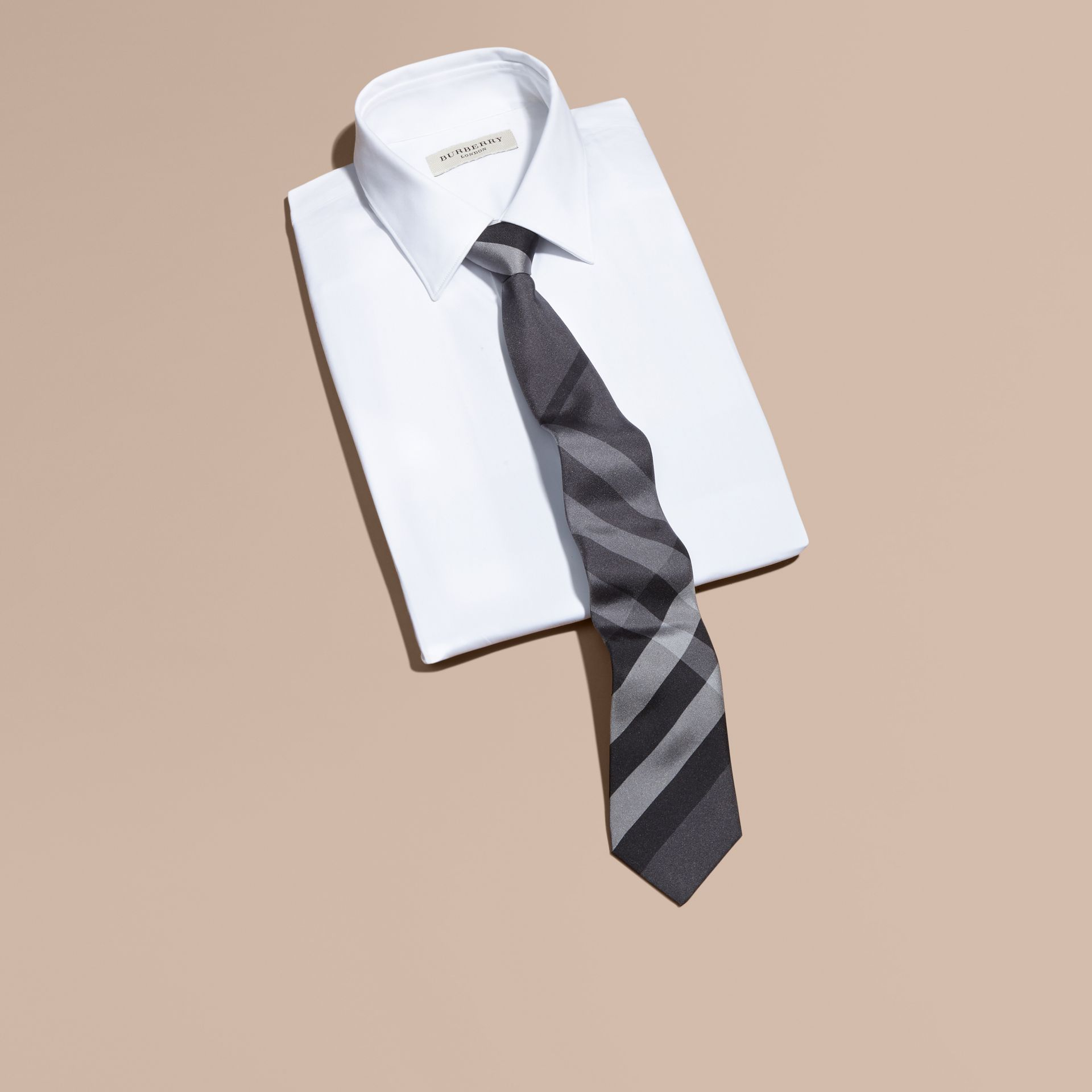 Dark charcoal Modern Cut Beat Check Silk Tie - gallery image 3