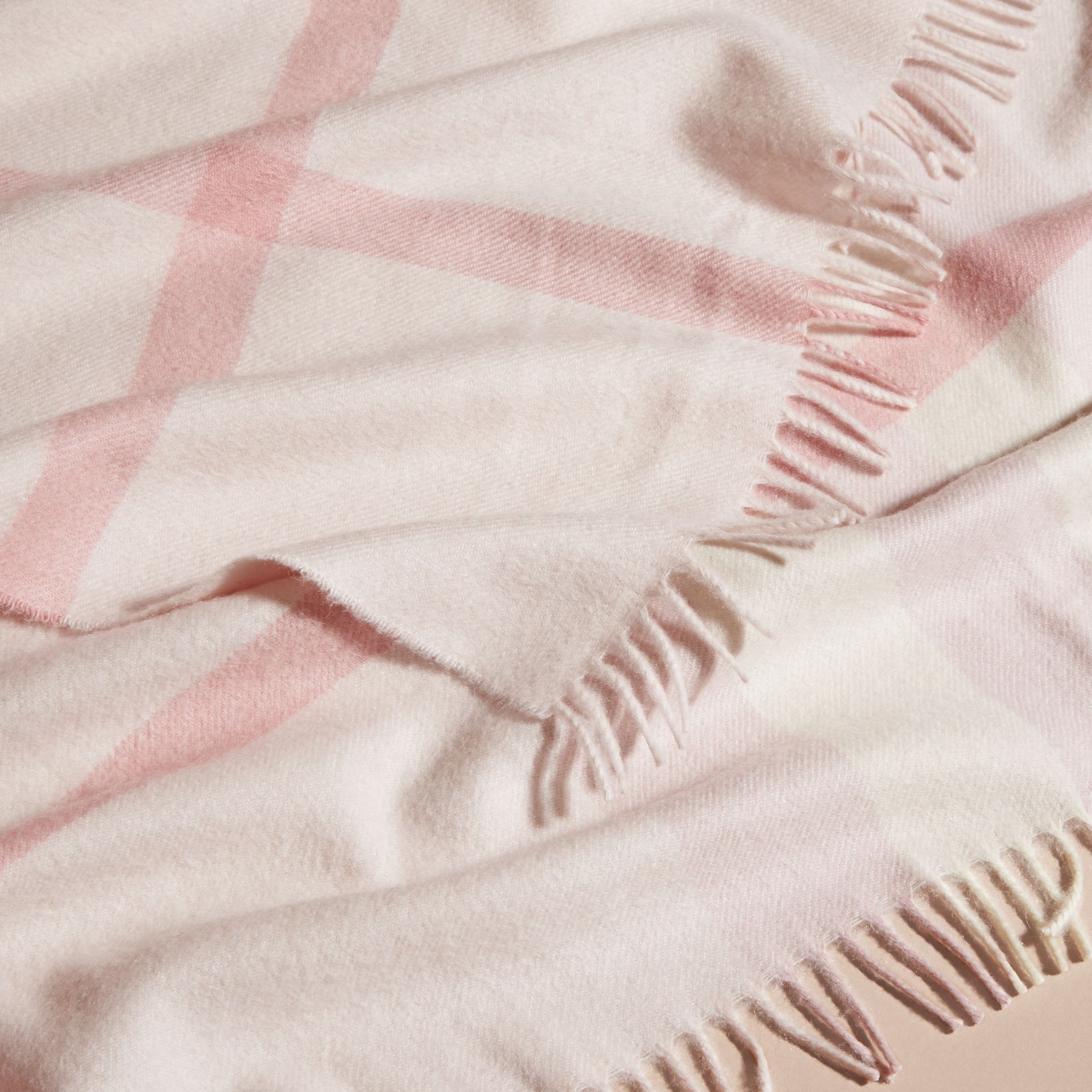 Powder pink Check Cashmere Baby Blanket Powder Pink - gallery image 4