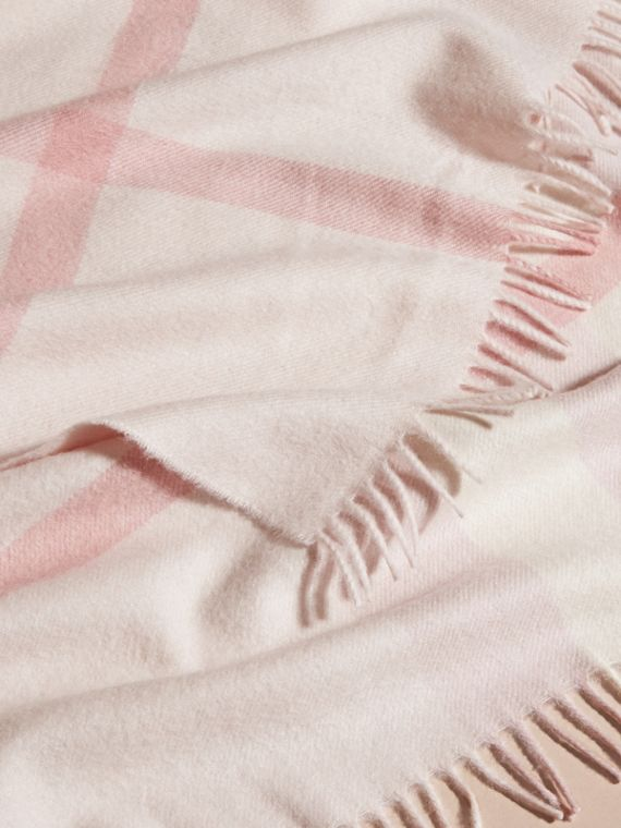 Check Cashmere Baby Blanket in Powder Pink - Children | Burberry - cell image 3
