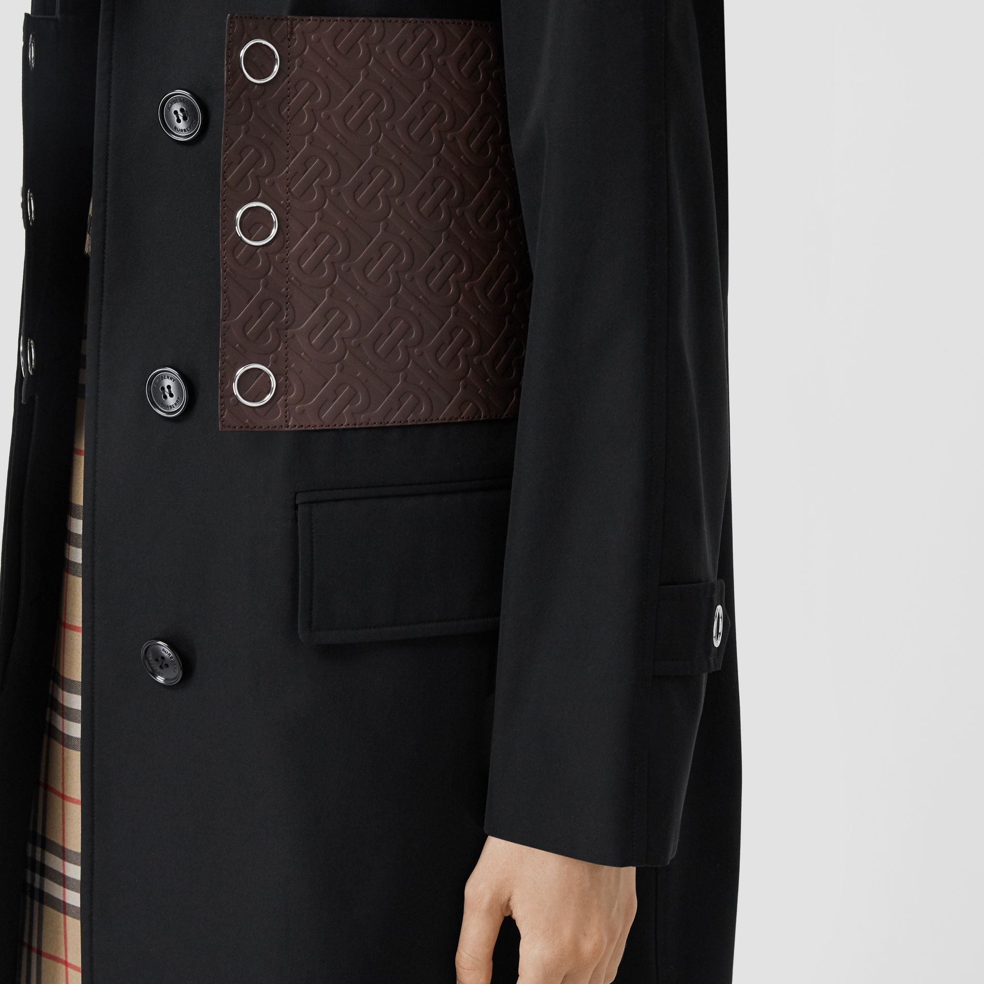 Monogram Leather Detail Cotton Gabardine Car Coat in Black - Women | Burberry - gallery image 5