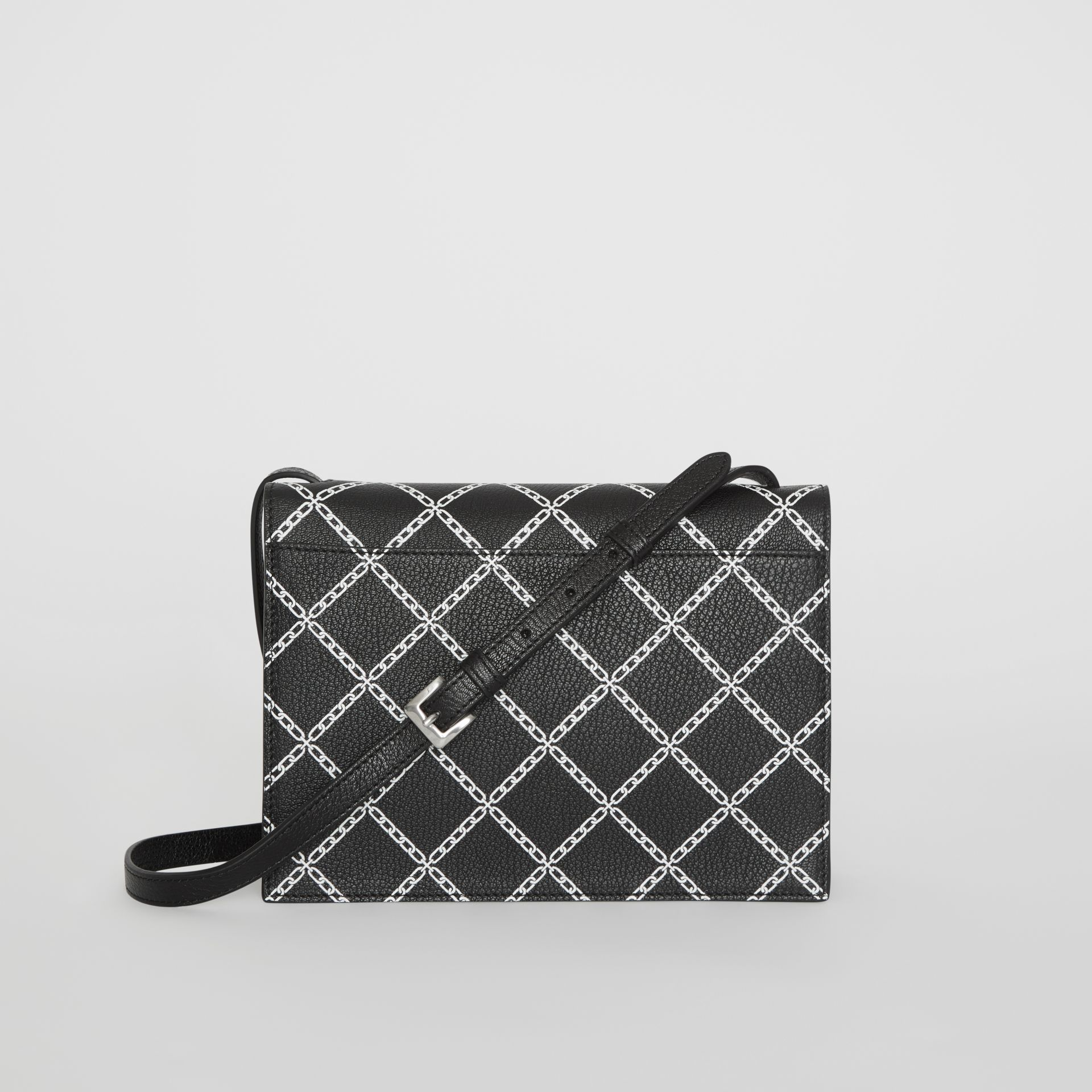 Small Link Print Leather Crossbody Bag in Black - Women | Burberry - gallery image 7