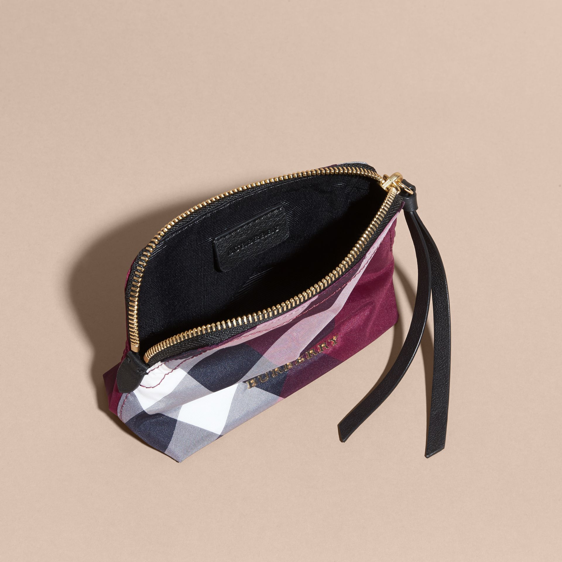 Plum Small Zip-top Check Pouch Plum - gallery image 4