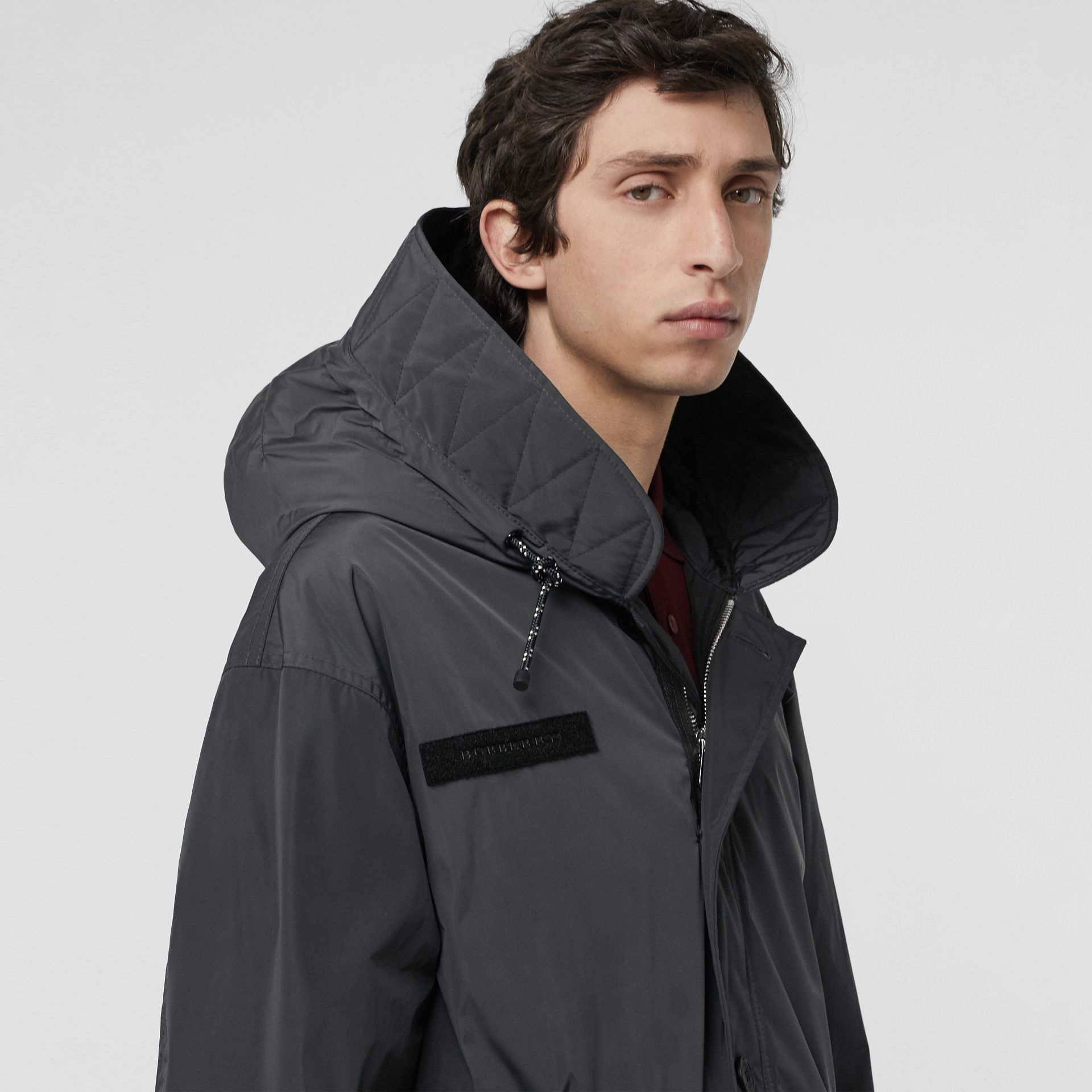 Quilt-lined Technical Nylon Parka in Dark Charcoal - Men | Burberry - gallery image 1