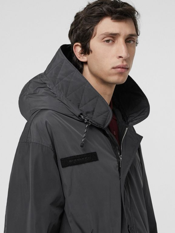 Quilt-lined Technical Nylon Parka in Dark Charcoal - Men | Burberry Hong Kong - cell image 1