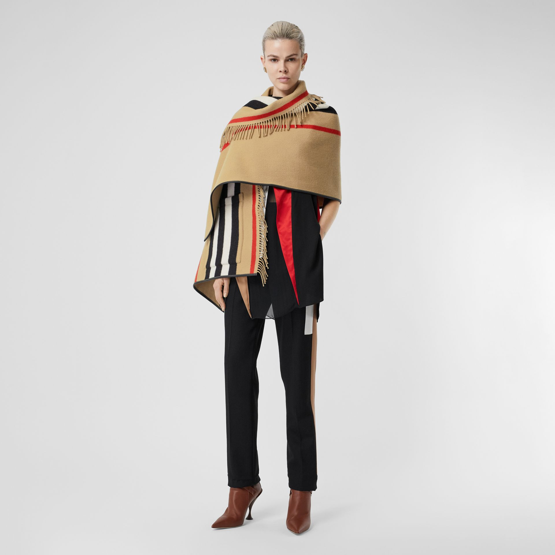 Icon Stripe Wool Cashmere Jacquard Cape in Archive Beige - Women | Burberry Canada - gallery image 5