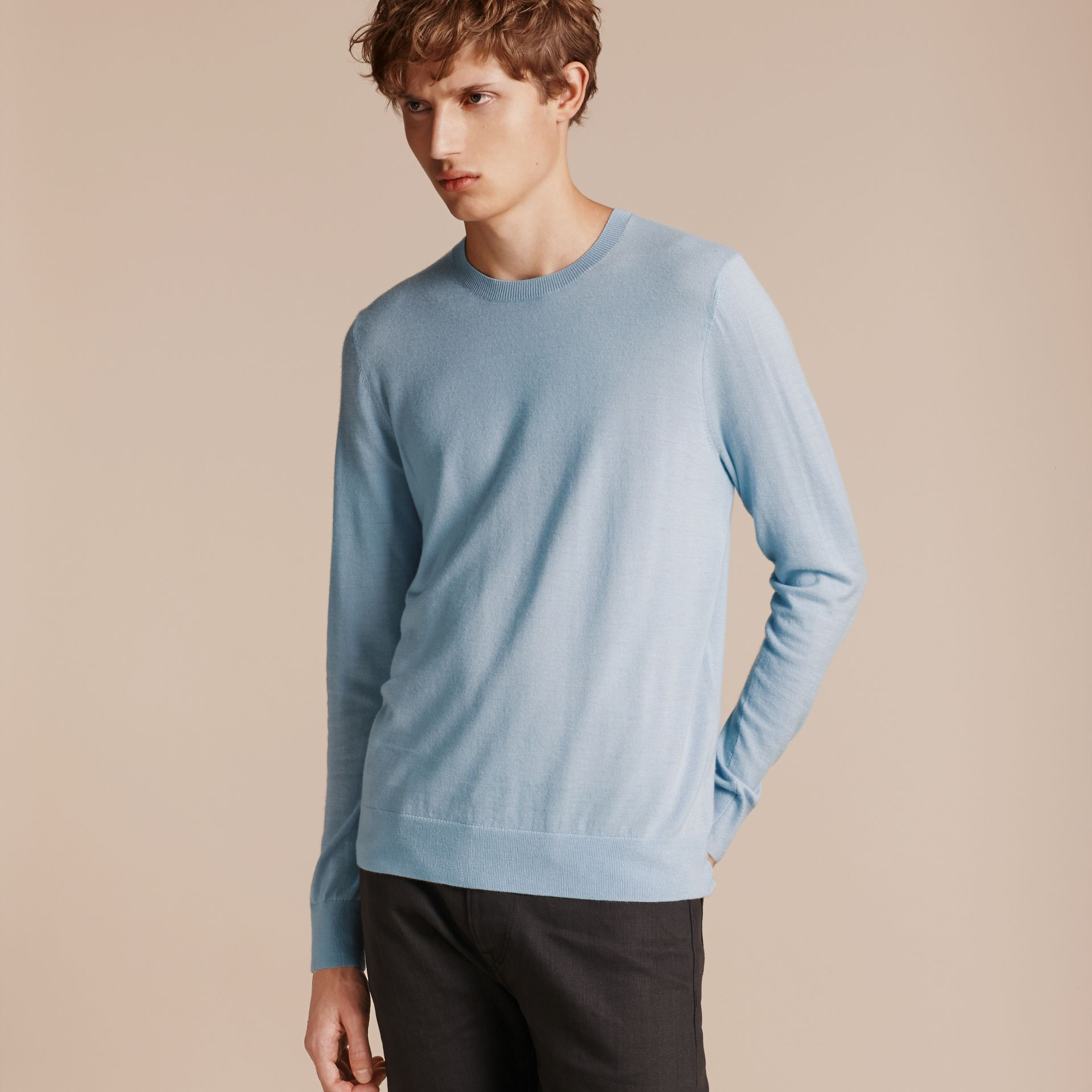 Lightweight Crew Neck Cashmere Sweater with Check Trim in Light Blue - Men | Burberry - gallery image 6