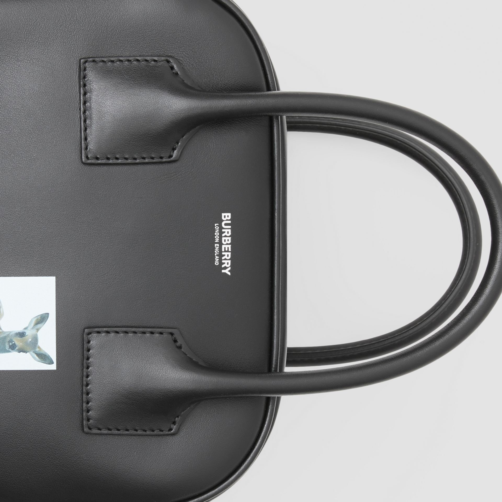 Small Montage Print Leather Cube Bag in Black - Women | Burberry - gallery image 1