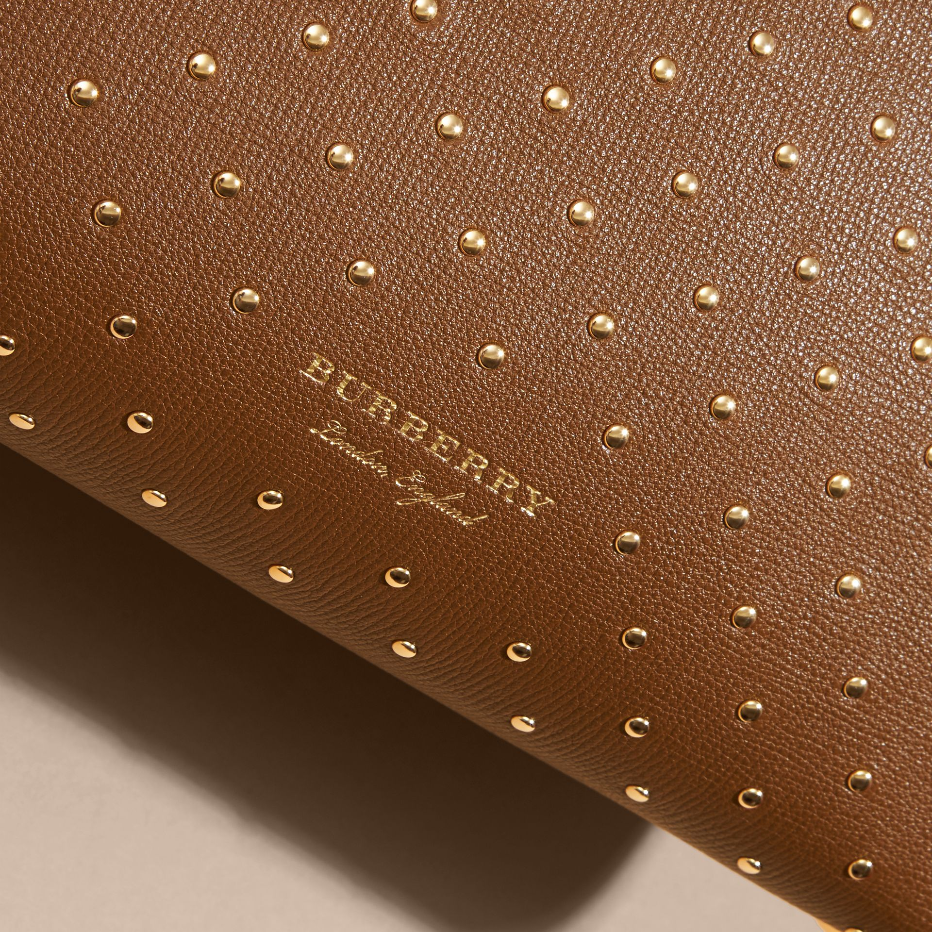The Medium Banner in Riveted Leather and House Check in Tan - Women | Burberry - gallery image 7