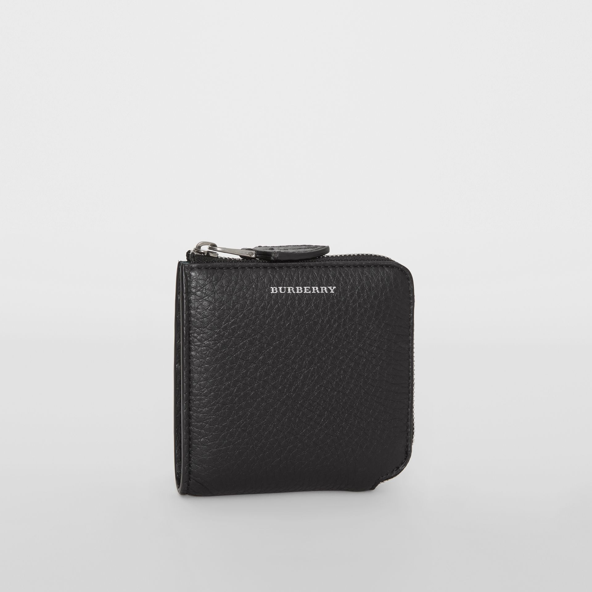 Grainy Leather Square Ziparound Wallet in Black - Women | Burberry - gallery image 5