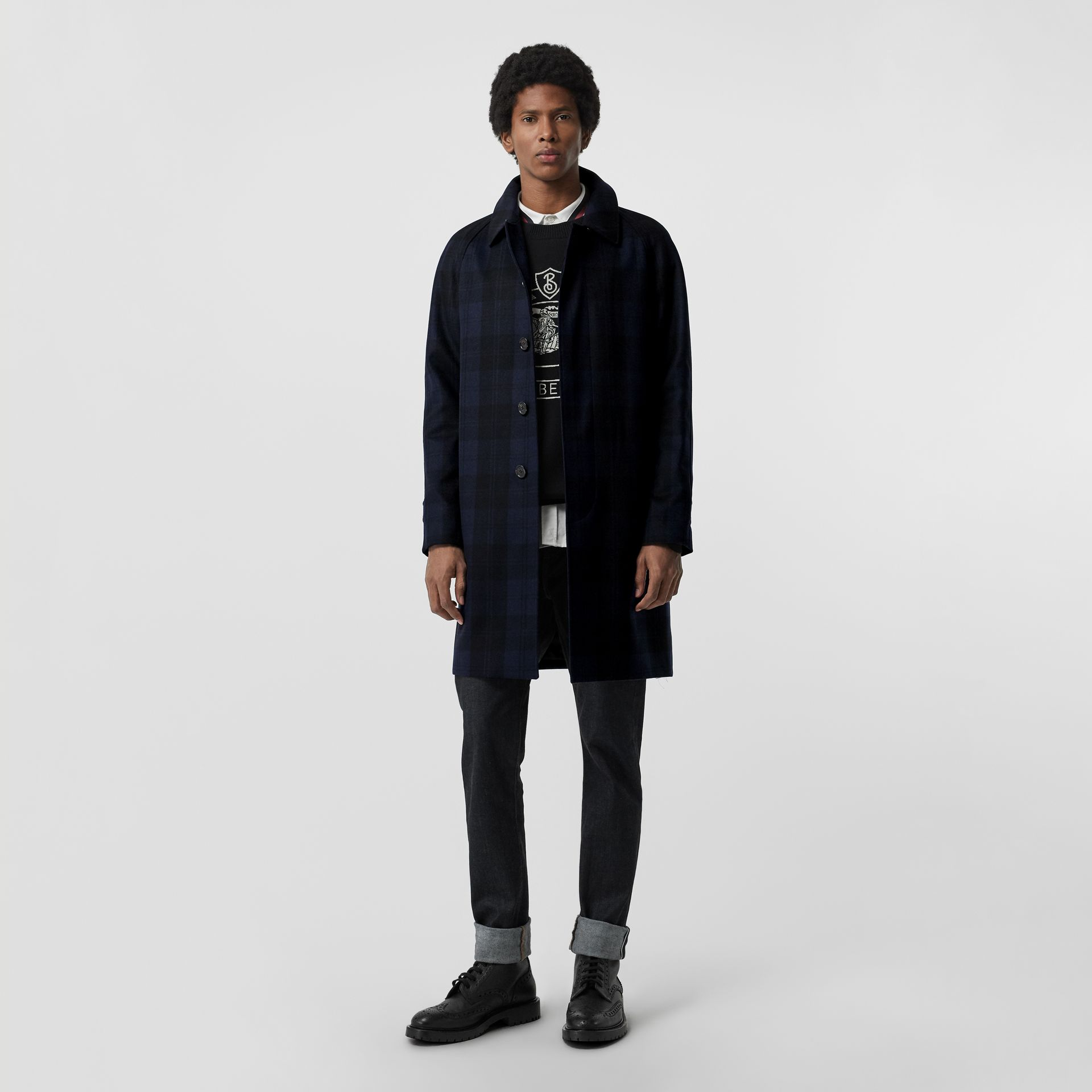 Check Cashmere Car Coat in Navy - Men | Burberry - gallery image 0