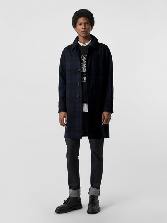 Check Cashmere Car Coat in Navy