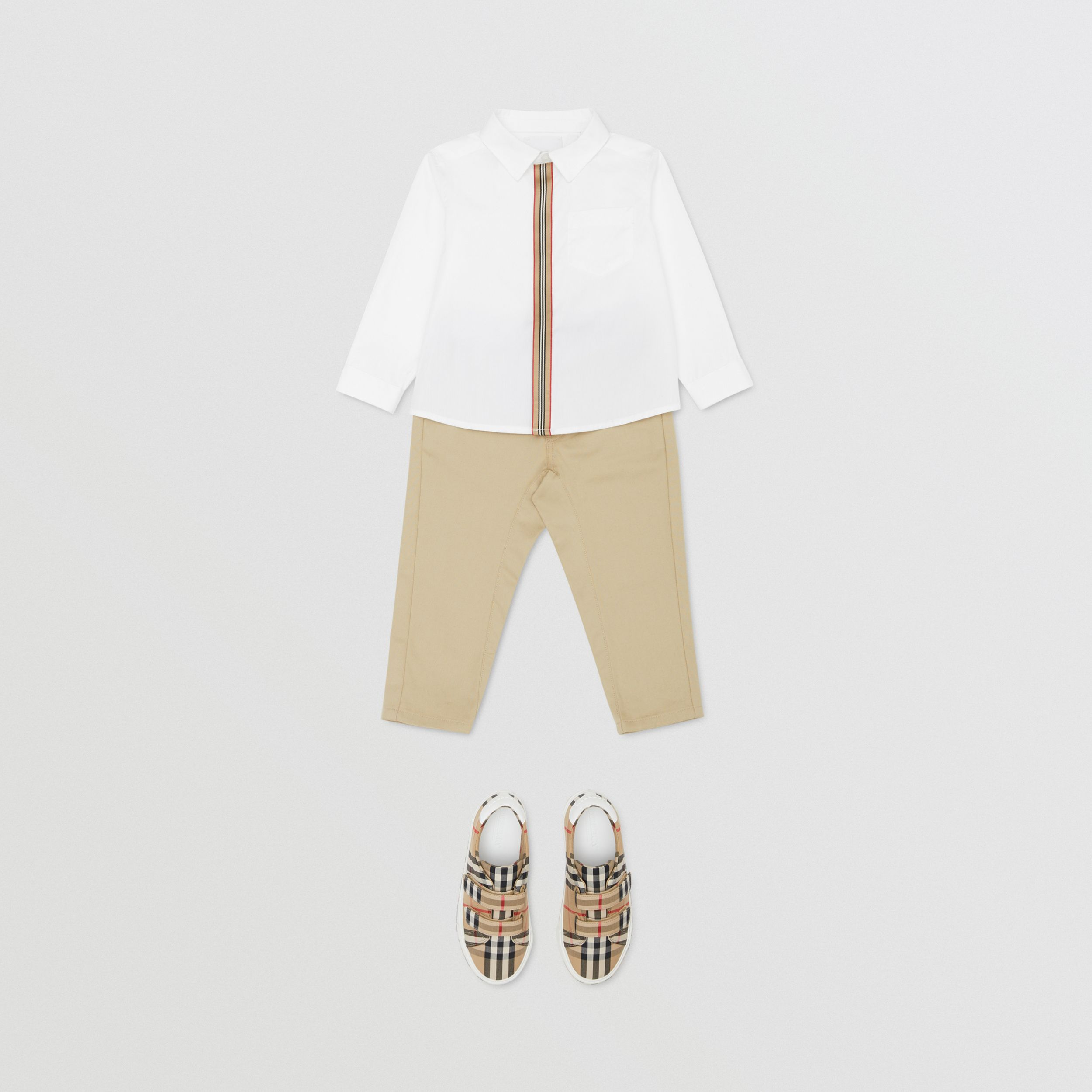 Icon Stripe Trim Stretch Cotton Shirt in White - Children | Burberry - 3