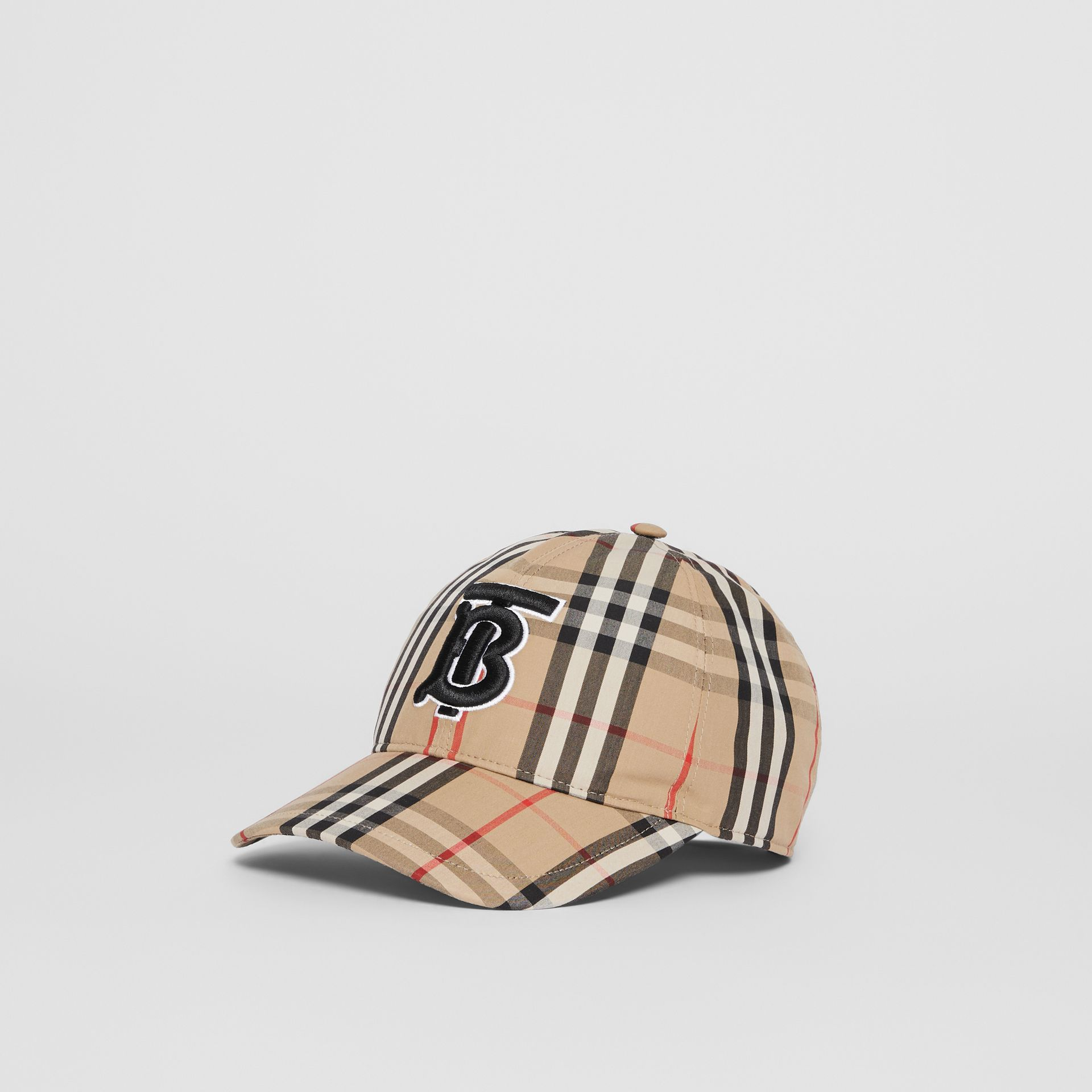Monogram Motif Vintage Check Baseball Cap in Archive Beige | Burberry - gallery image 5