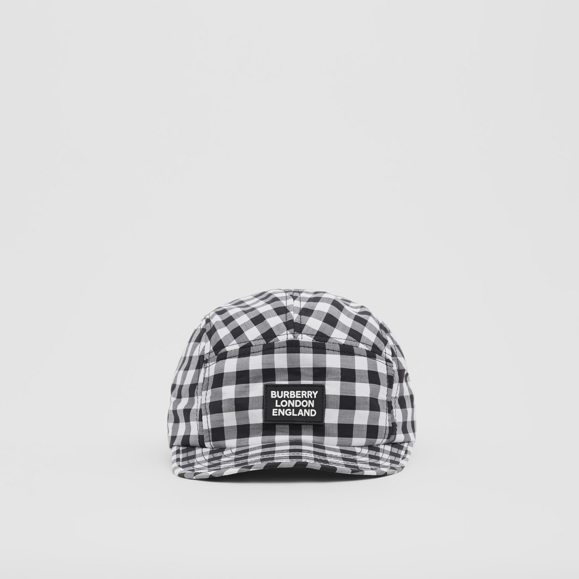 Logo Appliqué Gingham Cotton Cap in Black/white   Burberry United States - gallery image 0