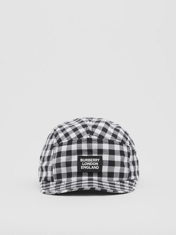 Logo Appliqué Gingham Cotton Cap in Black/white