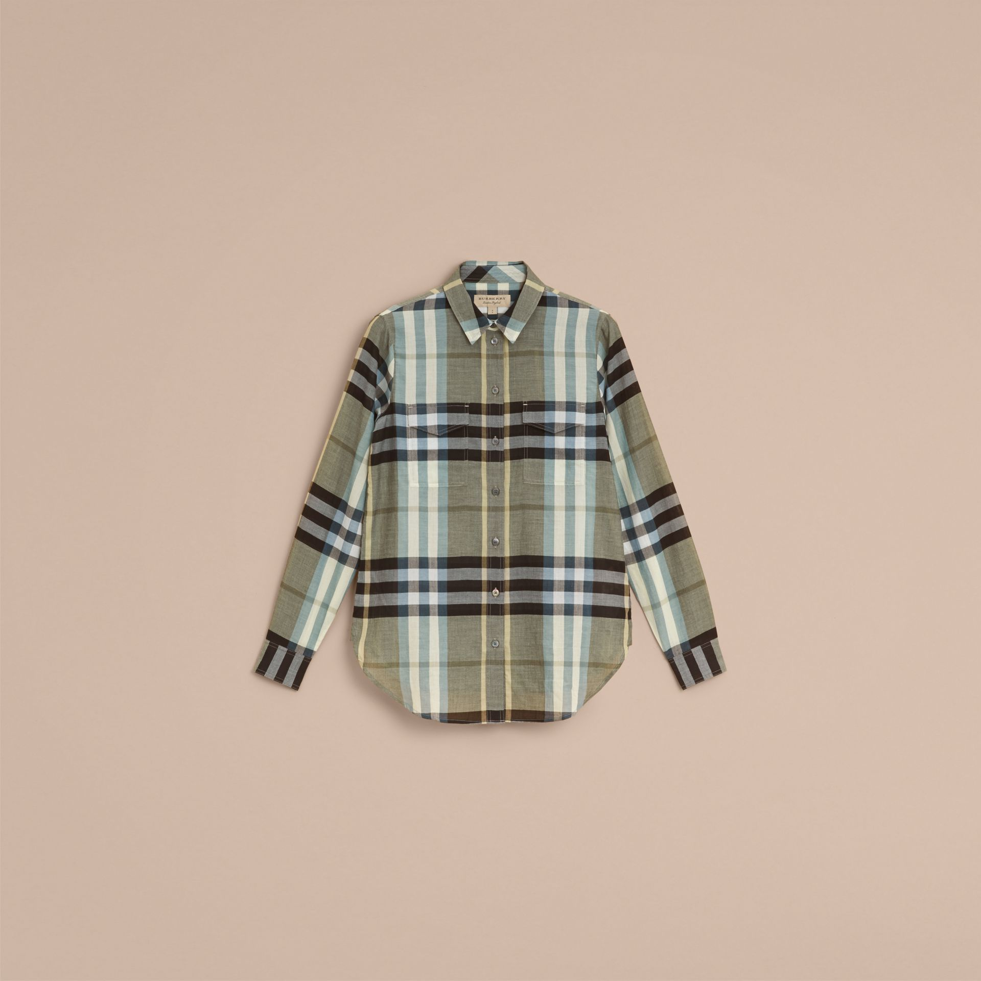 Check Cotton Shirt in Stone Green - Women | Burberry - gallery image 4